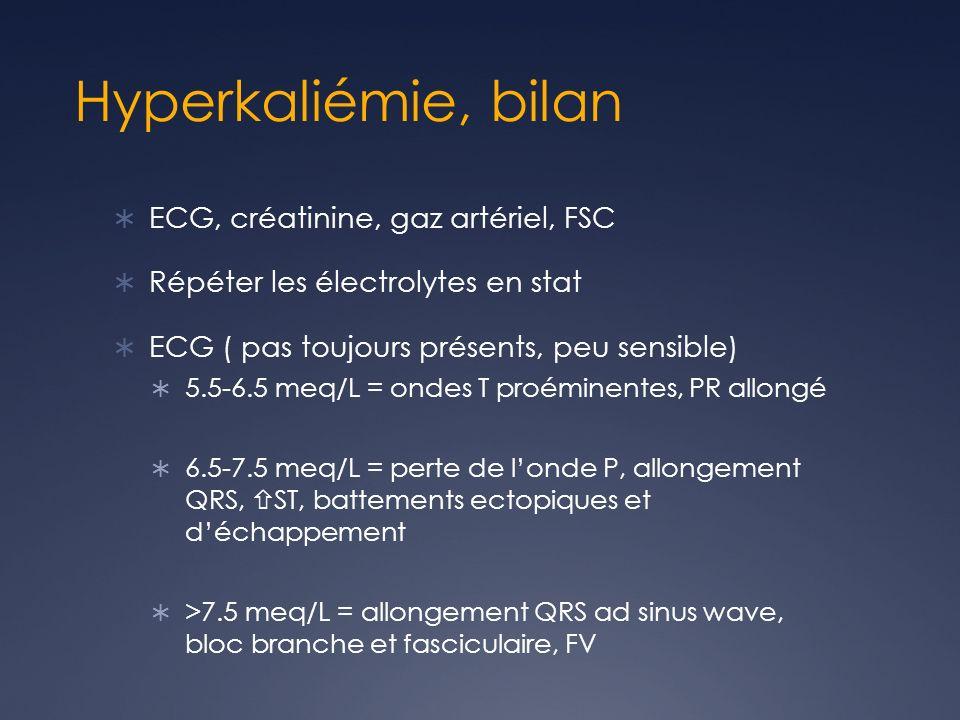 Hyperkaliémie, bilan ECG, créatinine, gaz artériel, FSC Répéter les électrolytes en stat ECG ( pas toujours présents, peu sensible) 5.5-6.5 meq/L = on