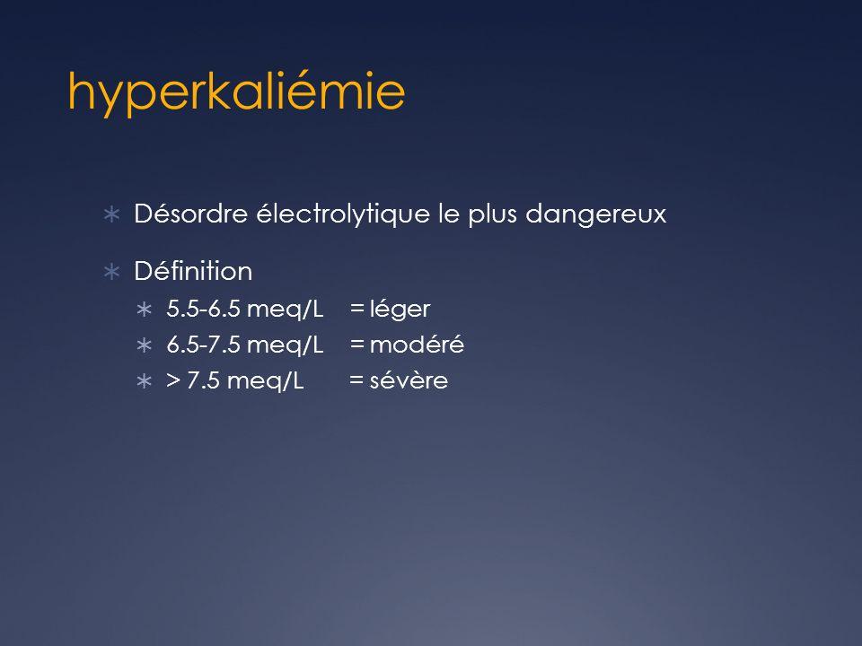 hyperkaliémie Désordre électrolytique le plus dangereux Définition 5.5-6.5 meq/L = léger 6.5-7.5 meq/L = modéré > 7.5 meq/L = sévère