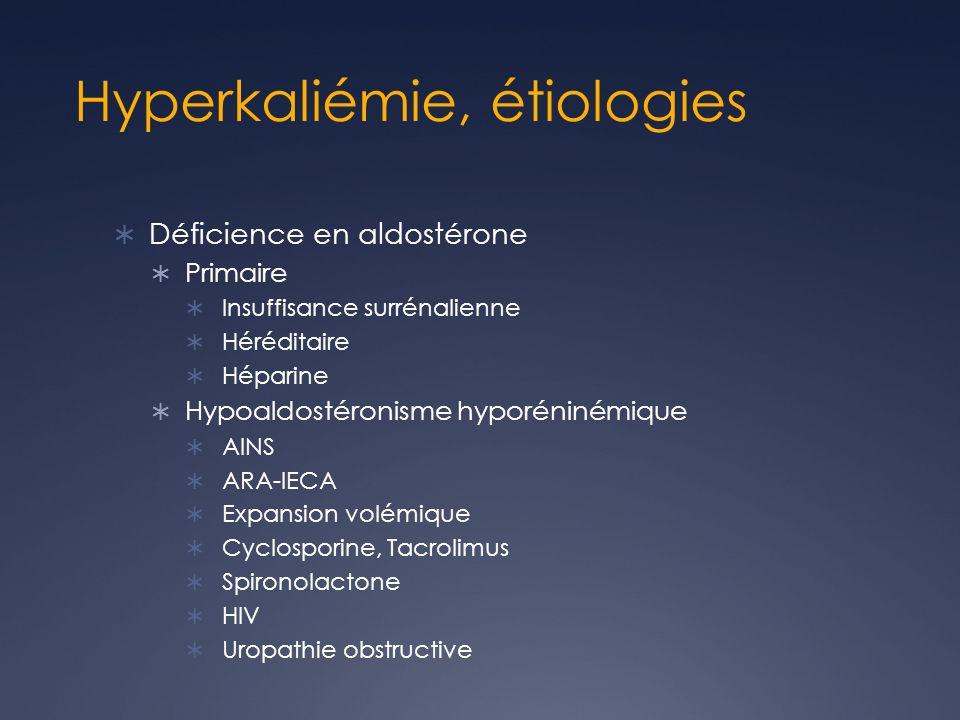 Hyperkaliémie, étiologies Déficience en aldostérone Primaire Insuffisance surrénalienne Héréditaire Héparine Hypoaldostéronisme hyporéninémique AINS A