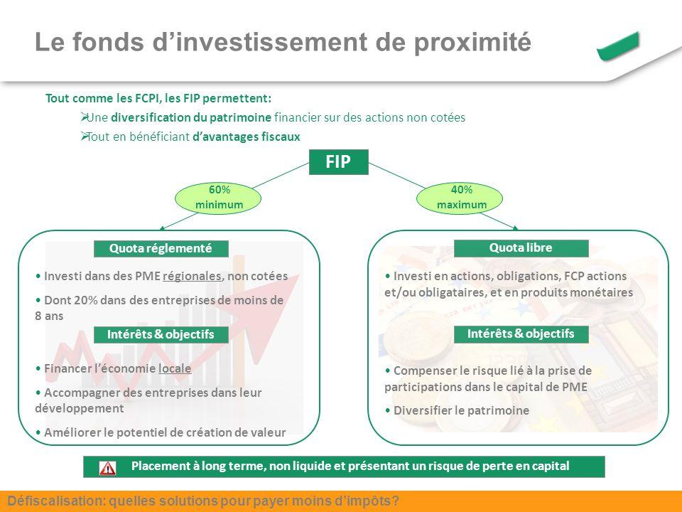 Tout comme les FCPI, les FIP permettent: Une diversification du patrimoine financier sur des actions non cotées Tout en bénéficiant davantages fiscaux FIP Quota réglementé Quota libre Investi dans des PME régionales, non cotées Dont 20% dans des entreprises de moins de 8 ans Investi en actions, obligations, FCP actions et/ou obligataires, et en produits monétaires Financer léconomie locale Accompagner des entreprises dans leur développement Améliorer le potentiel de création de valeur Intérêts & objectifs Compenser le risque lié à la prise de participations dans le capital de PME Diversifier le patrimoine Placement à long terme, non liquide et présentant un risque de perte en capital 40% maximum 60% minimum Le fonds dinvestissement de proximité Défiscalisation: quelles solutions pour payer moins dimpôts