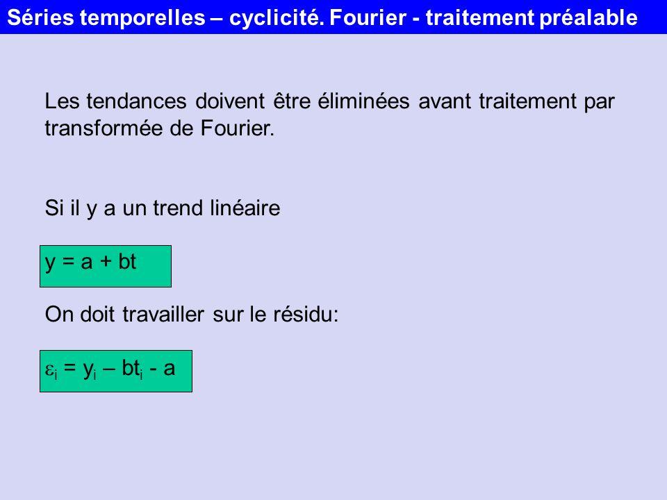 Les tendances doivent être éliminées avant traitement par transformée de Fourier. Si il y a un trend linéaire y = a + bt On doit travailler sur le rés