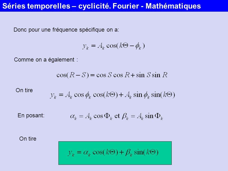 Donc pour une fréquence spécifique on a: Comme on a également : On tire En posant: On tire Séries temporelles – cyclicité. Fourier - Mathématiques