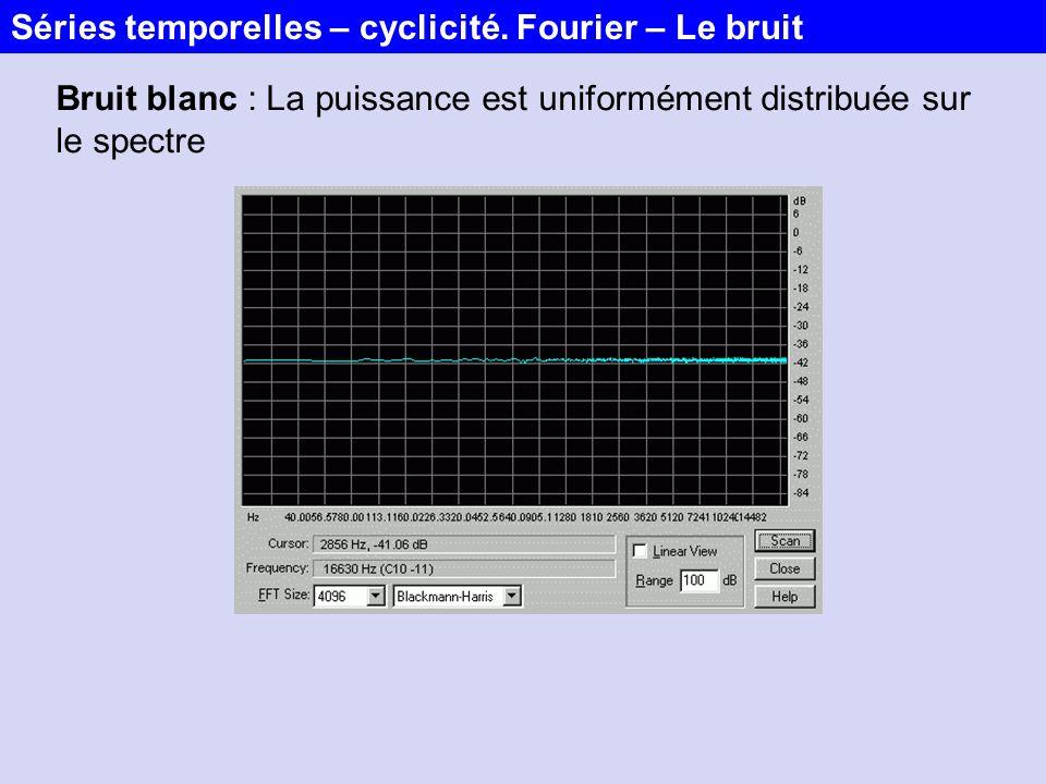 Bruit blanc : La puissance est uniformément distribuée sur le spectre Séries temporelles – cyclicité. Fourier – Le bruit
