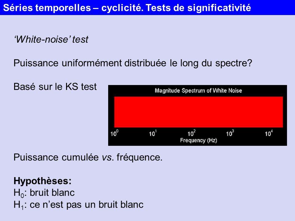 White-noise test Puissance uniformément distribuée le long du spectre? Basé sur le KS test Puissance cumulée vs. fréquence. Hypothèses: H 0 : bruit bl