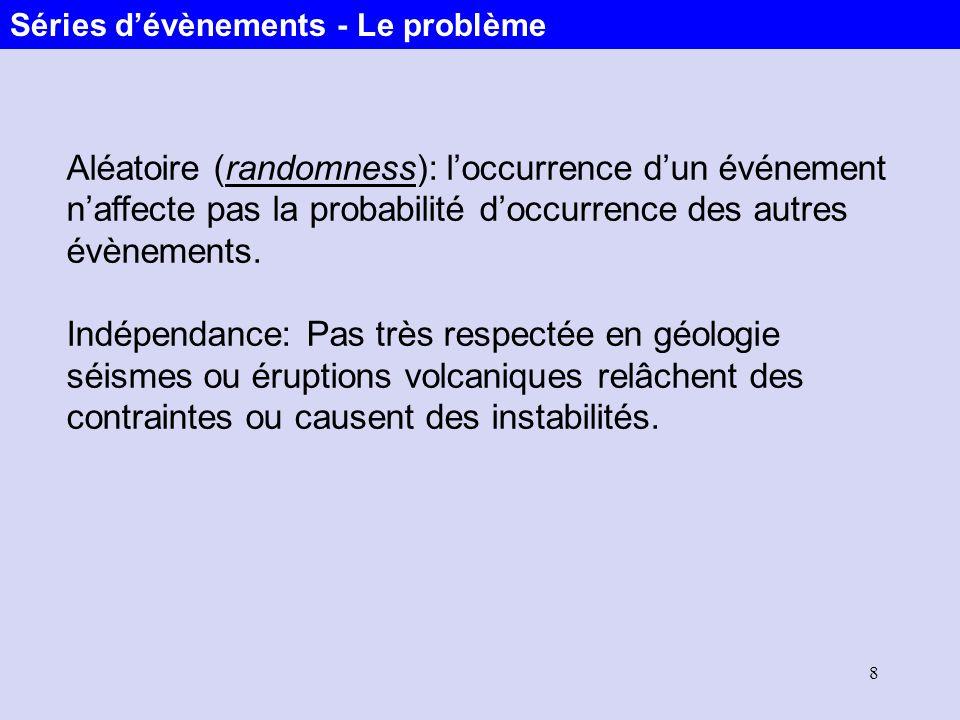 8 Aléatoire (randomness): loccurrence dun événement naffecte pas la probabilité doccurrence des autres évènements. Indépendance: Pas très respectée en