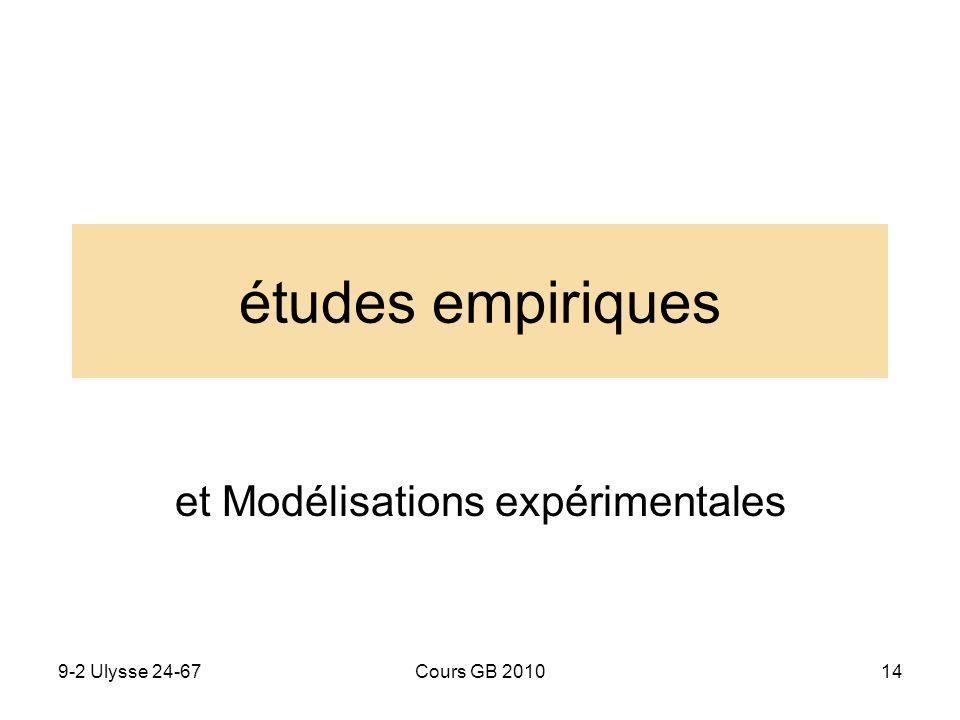 9-2 Ulysse 24-67Cours GB 201014 études empiriques et Modélisations expérimentales
