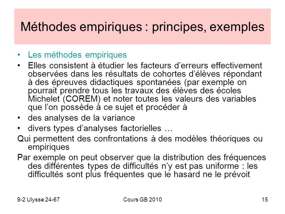 9-2 Ulysse 24-67Cours GB 201015 Méthodes empiriques : principes, exemples Les méthodes empiriques Elles consistent à étudier les facteurs derreurs eff