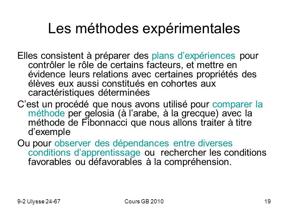 9-2 Ulysse 24-67Cours GB 201019 Les méthodes expérimentales Elles consistent à préparer des plans dexpériences pour contrôler le rôle de certains fact