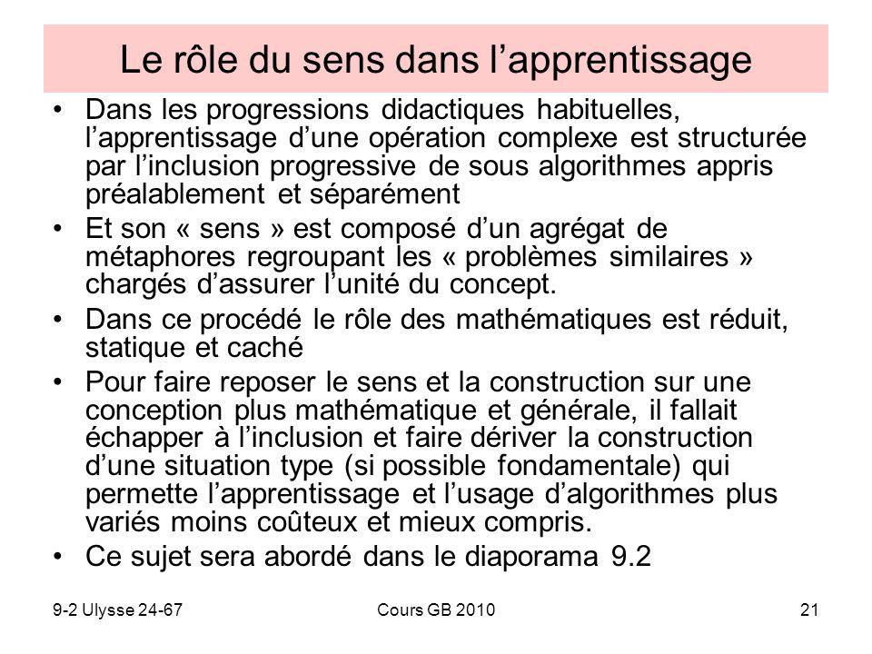 9-2 Ulysse 24-67Cours GB 201021 Le rôle du sens dans lapprentissage Dans les progressions didactiques habituelles, lapprentissage dune opération compl