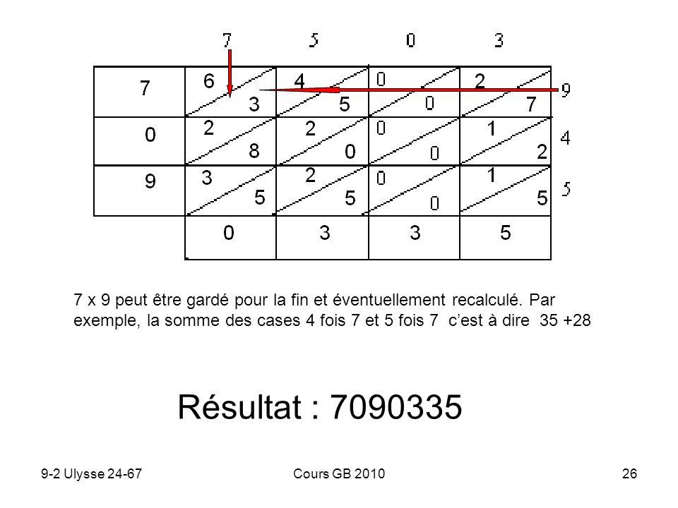 9-2 Ulysse 24-67Cours GB 201026 Résultat : 7090335 7 x 9 peut être gardé pour la fin et éventuellement recalculé. Par exemple, la somme des cases 4 fo