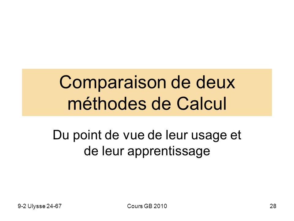 9-2 Ulysse 24-67Cours GB 201028 Comparaison de deux méthodes de Calcul Du point de vue de leur usage et de leur apprentissage