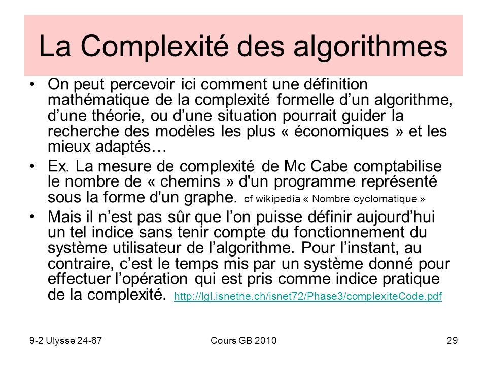 9-2 Ulysse 24-67Cours GB 201029 La Complexité des algorithmes On peut percevoir ici comment une définition mathématique de la complexité formelle dun