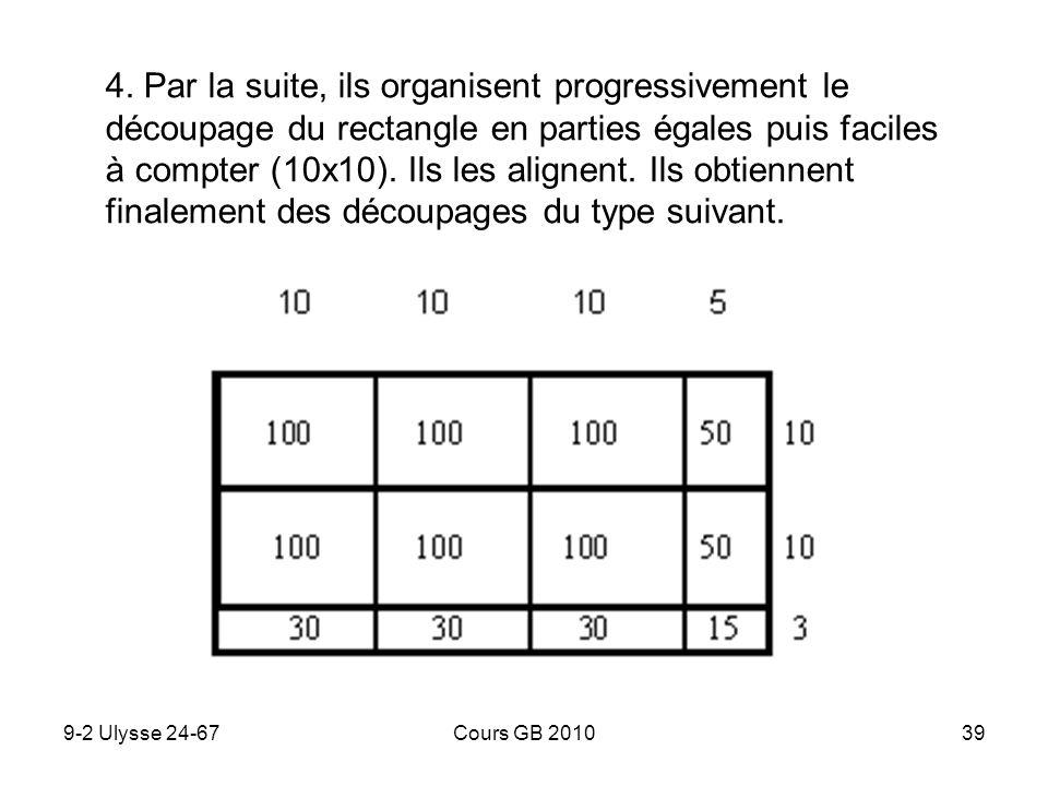 9-2 Ulysse 24-67Cours GB 201039 4. Par la suite, ils organisent progressivement le découpage du rectangle en parties égales puis faciles à compter (10