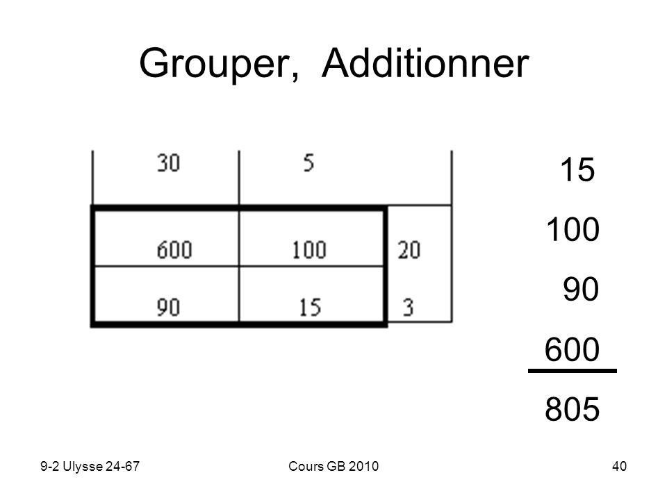 9-2 Ulysse 24-67Cours GB 201040 Grouper, Additionner 15 100 90 600 805