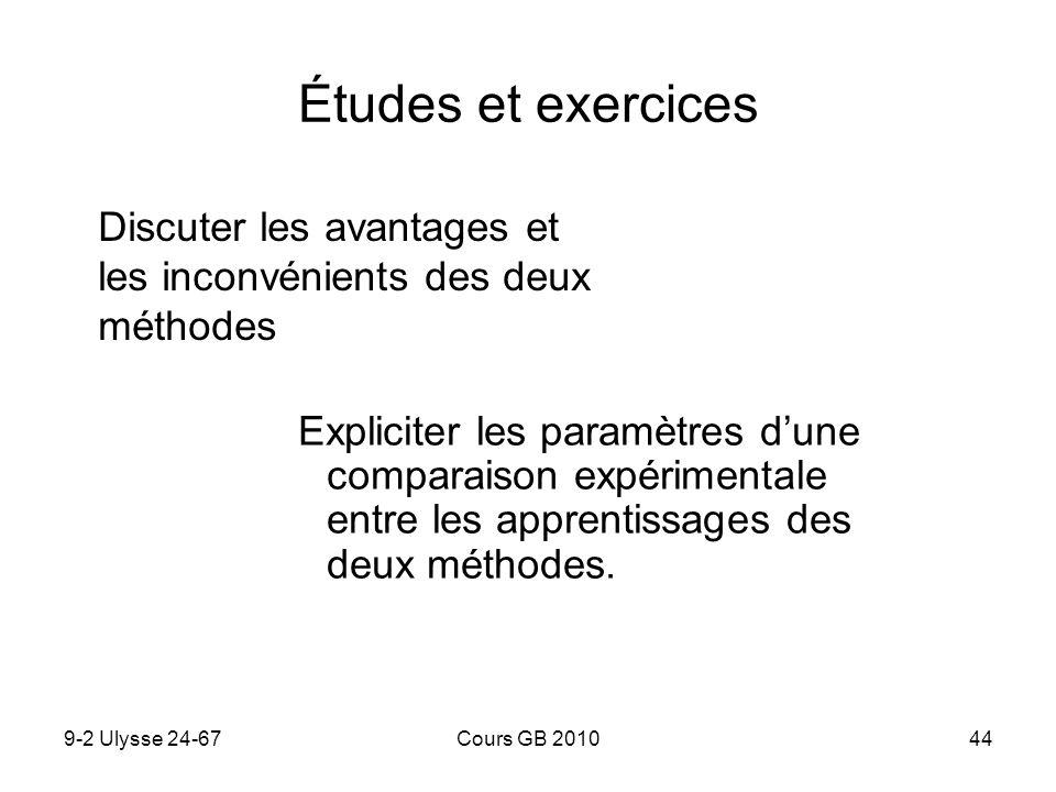 9-2 Ulysse 24-67Cours GB 201044 Études et exercices Expliciter les paramètres dune comparaison expérimentale entre les apprentissages des deux méthode