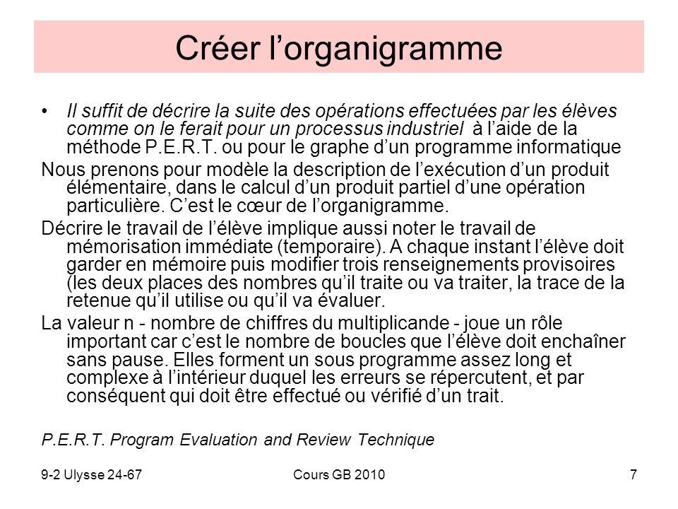 9-2 Ulysse 24-67Cours GB 20107 Créer lorganigramme Il suffit de décrire la suite des opérations effectuées par les élèves comme on le ferait pour un p