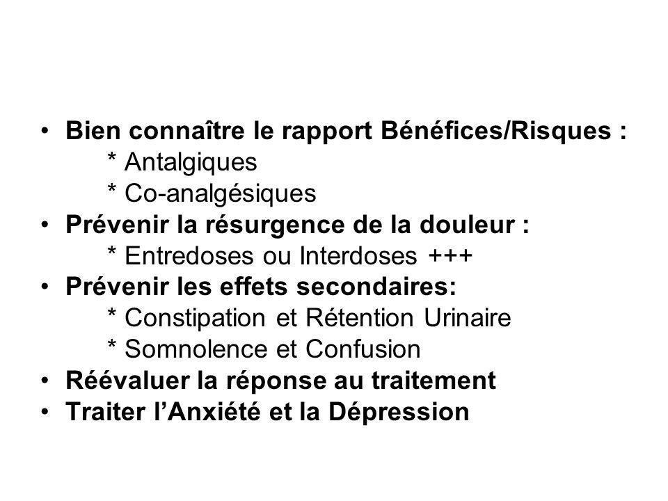 Bien connaître le rapport Bénéfices/Risques : * Antalgiques * Co-analgésiques Prévenir la résurgence de la douleur : * Entredoses ou Interdoses +++ Pr