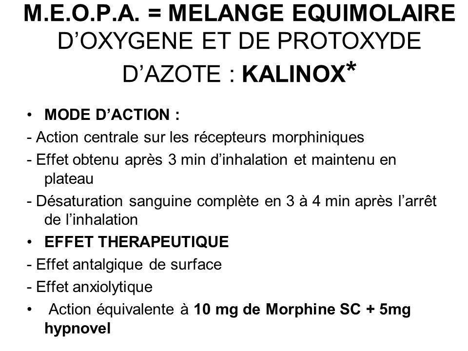M.E.O.P.A. = MELANGE EQUIMOLAIRE DOXYGENE ET DE PROTOXYDE DAZOTE : KALINOX * MODE DACTION : - Action centrale sur les récepteurs morphiniques - Effet