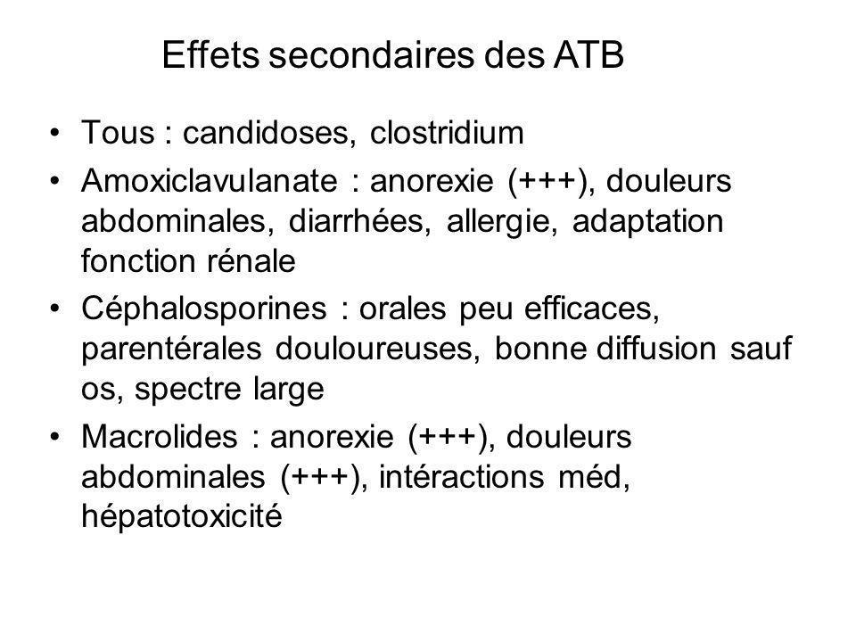 Tous : candidoses, clostridium Amoxiclavulanate : anorexie (+++), douleurs abdominales, diarrhées, allergie, adaptation fonction rénale Céphalosporine