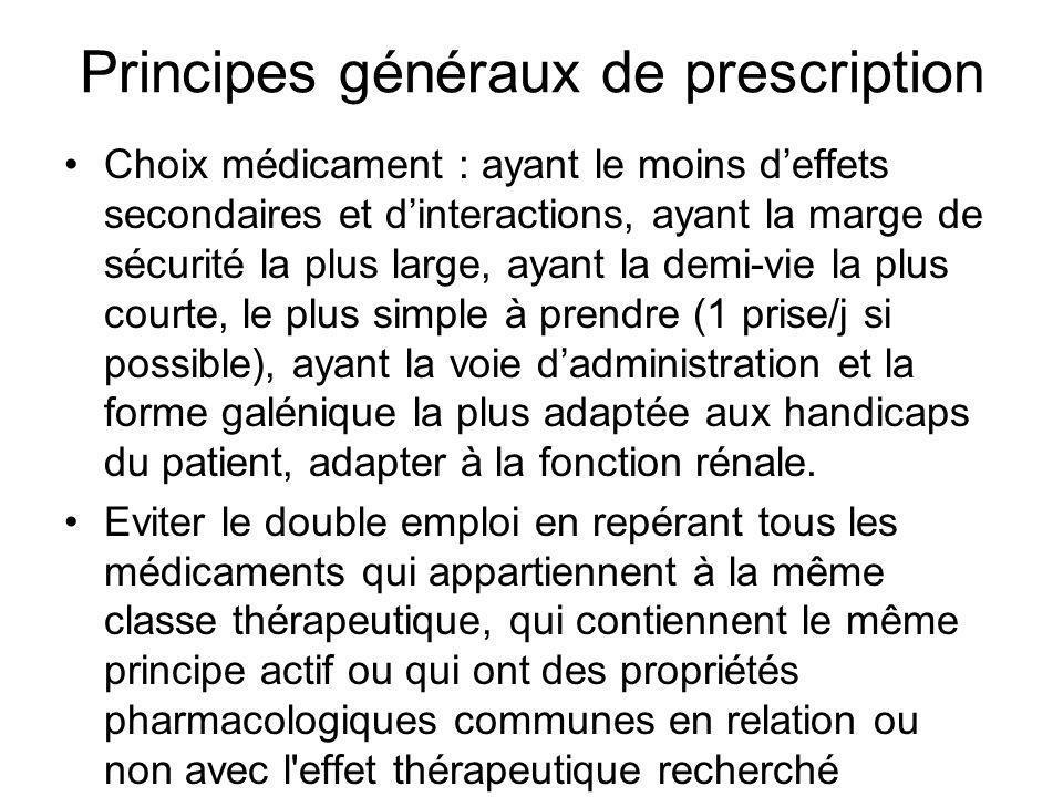Principes généraux de prescription Choix médicament : ayant le moins deffets secondaires et dinteractions, ayant la marge de sécurité la plus large, a