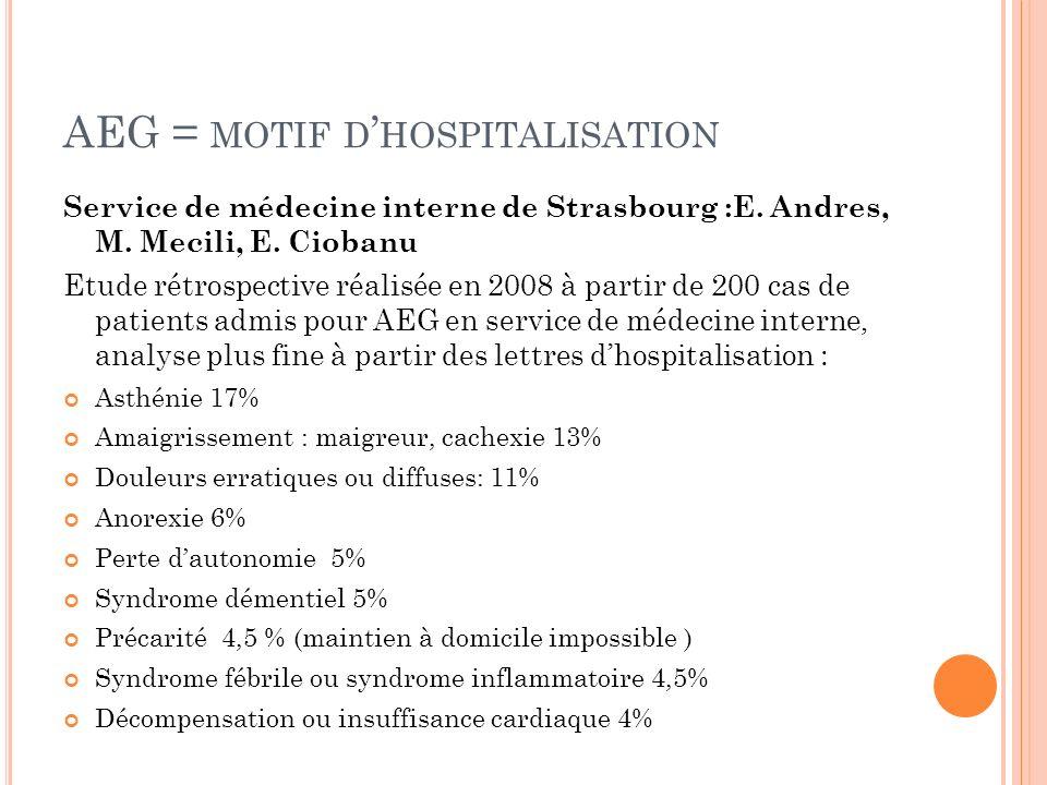 AEG = MOTIF D HOSPITALISATION Service de médecine interne de Strasbourg :E. Andres, M. Mecili, E. Ciobanu Etude rétrospective réalisée en 2008 à parti