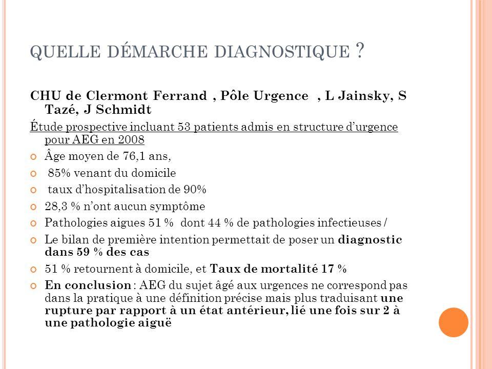 QUELLE DÉMARCHE DIAGNOSTIQUE ? CHU de Clermont Ferrand, Pôle Urgence, L Jainsky, S Tazé, J Schmidt Étude prospective incluant 53 patients admis en str