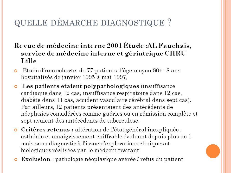 QUELLE DÉMARCHE DIAGNOSTIQUE ? Revue de médecine interne 2001 Étude :AL Fauchais, service de médecine interne et gériatrique CHRU Lille Etude dune coh