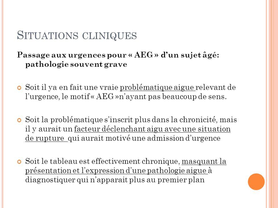 S ITUATIONS CLINIQUES Passage aux urgences pour « AEG » dun sujet âgé: pathologie souvent grave Soit il ya en fait une vraie problématique aigue relev