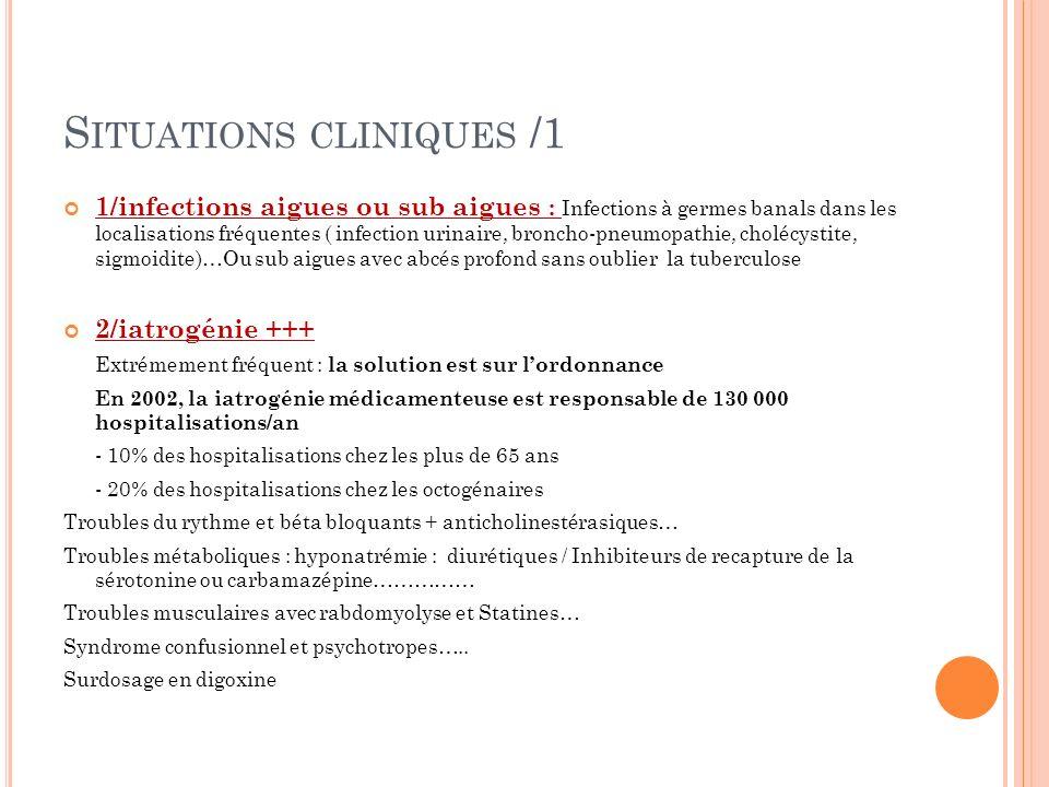 S ITUATIONS CLINIQUES /1 1/infections aigues ou sub aigues : Infections à germes banals dans les localisations fréquentes ( infection urinaire, bronch