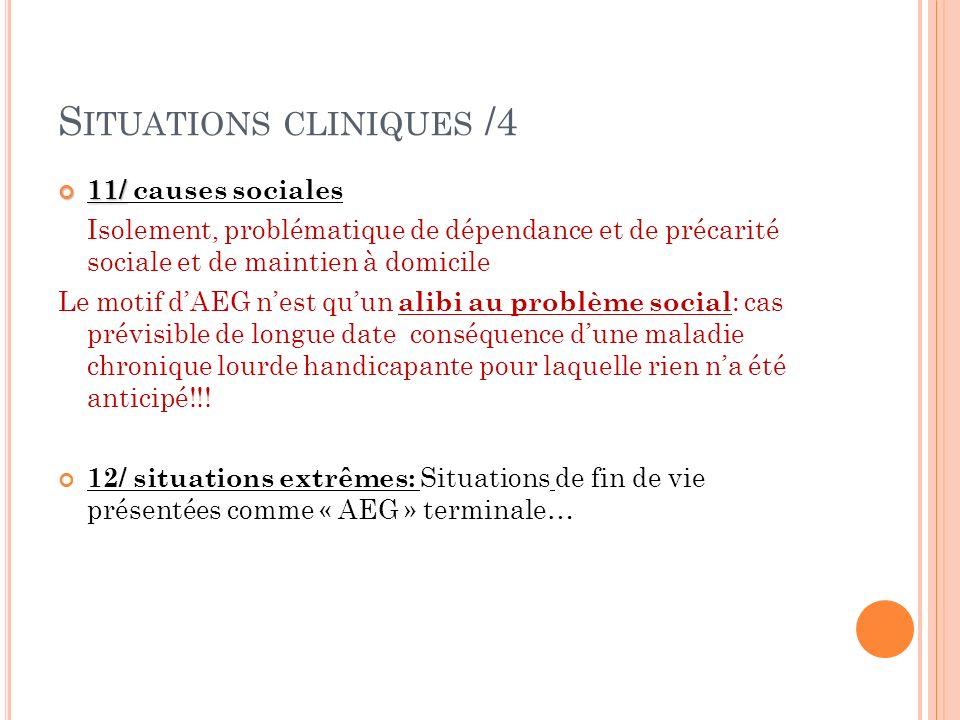 S ITUATIONS CLINIQUES /4 11/ 11/ causes sociales Isolement, problématique de dépendance et de précarité sociale et de maintien à domicile Le motif dAE