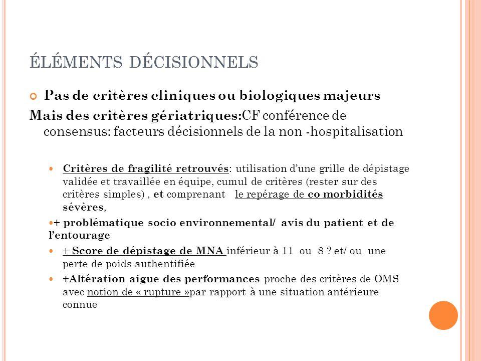 ÉLÉMENTS DÉCISIONNELS Pas de critères cliniques ou biologiques majeurs Mais des critères gériatriques: CF conférence de consensus: facteurs décisionne