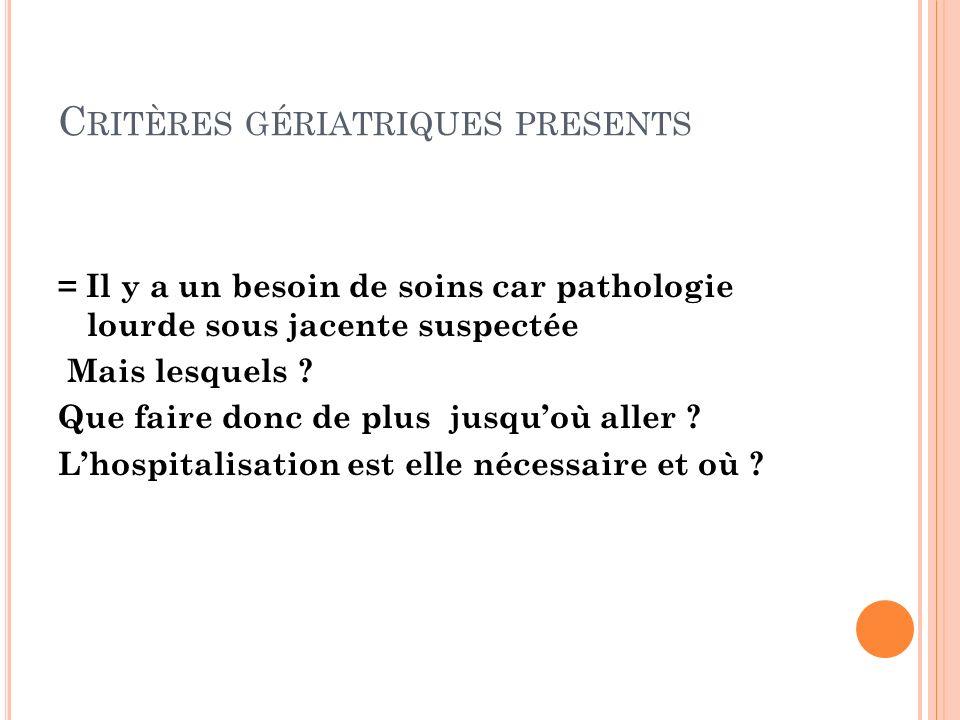 C RITÈRES GÉRIATRIQUES PRESENTS = Il y a un besoin de soins car pathologie lourde sous jacente suspectée Mais lesquels ? Que faire donc de plus jusquo