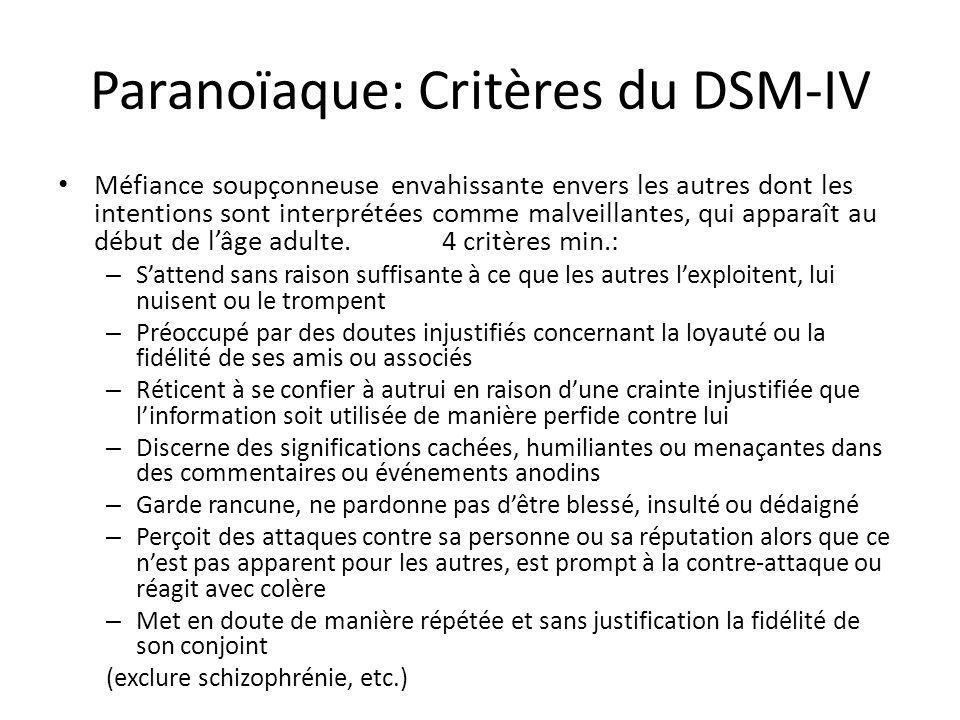 Paranoïaque: Critères du DSM-IV Méfiance soupçonneuse envahissante envers les autres dont les intentions sont interprétées comme malveillantes, qui ap