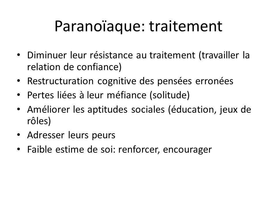 Paranoïaque: traitement Diminuer leur résistance au traitement (travailler la relation de confiance) Restructuration cognitive des pensées erronées Pe