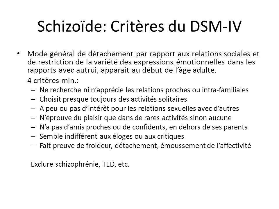 Schizoïde: Critères du DSM-IV Mode général de détachement par rapport aux relations sociales et de restriction de la variété des expressions émotionne