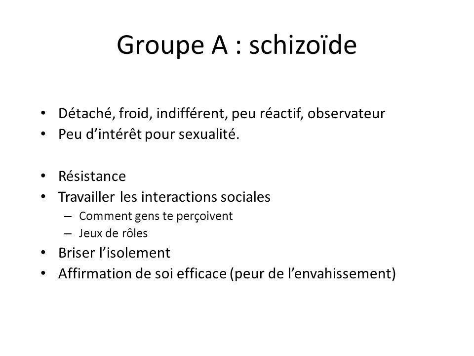 Groupe A : schizoïde Détaché, froid, indifférent, peu réactif, observateur Peu dintérêt pour sexualité. Résistance Travailler les interactions sociale