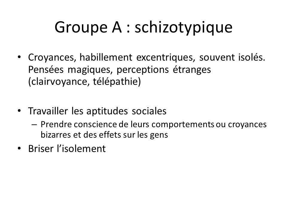 Groupe A : schizotypique Croyances, habillement excentriques, souvent isolés. Pensées magiques, perceptions étranges (clairvoyance, télépathie) Travai