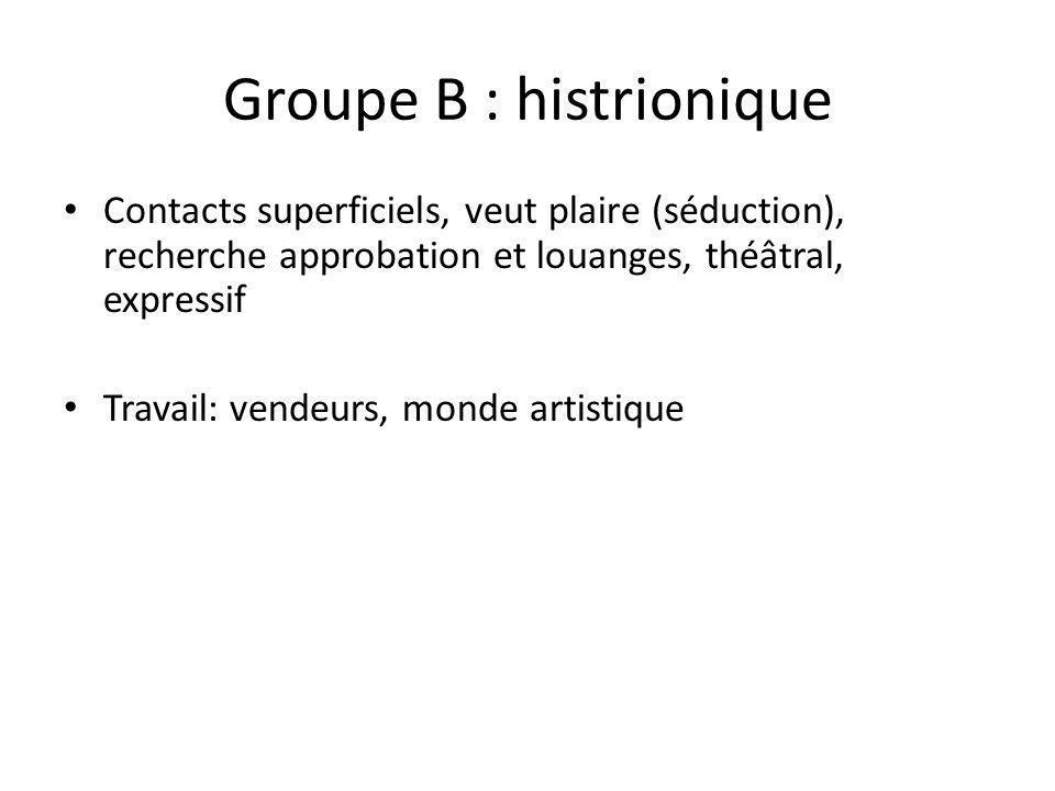 Groupe B : histrionique Contacts superficiels, veut plaire (séduction), recherche approbation et louanges, théâtral, expressif Travail: vendeurs, mond