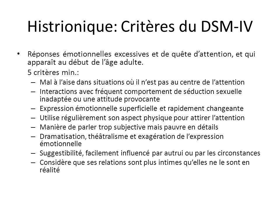 Histrionique: Critères du DSM-IV Réponses émotionnelles excessives et de quête dattention, et qui apparaît au début de lâge adulte. 5 critères min.: –
