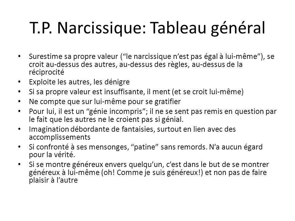 T.P. Narcissique: Tableau général Surestime sa propre valeur (le narcissique nest pas égal à lui-même), se croit au-dessus des autres, au-dessus des r