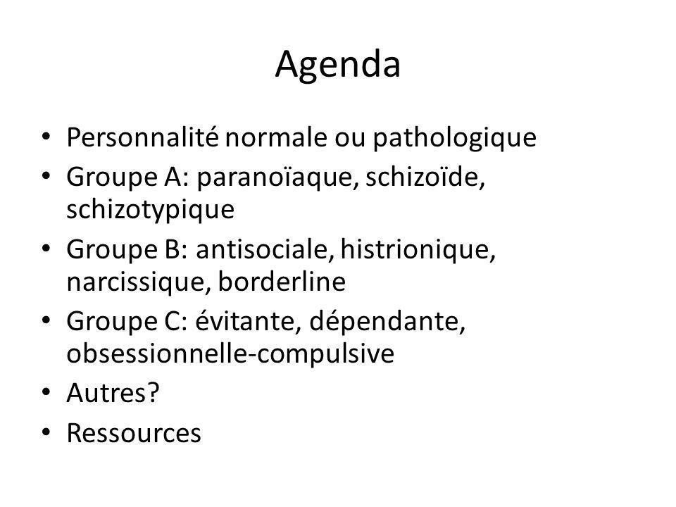 Agenda Personnalité normale ou pathologique Groupe A: paranoïaque, schizoïde, schizotypique Groupe B: antisociale, histrionique, narcissique, borderli