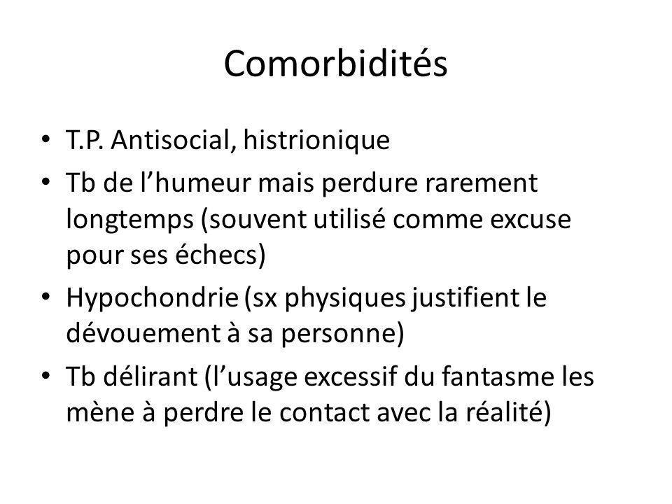 Comorbidités T.P. Antisocial, histrionique Tb de lhumeur mais perdure rarement longtemps (souvent utilisé comme excuse pour ses échecs) Hypochondrie (