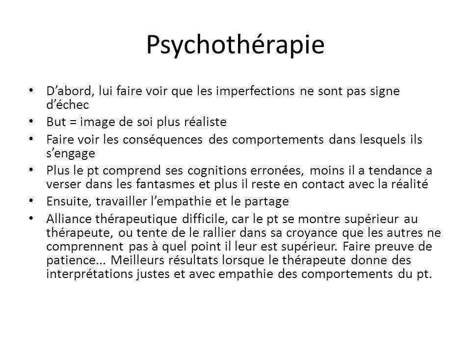 Psychothérapie Dabord, lui faire voir que les imperfections ne sont pas signe déchec But = image de soi plus réaliste Faire voir les conséquences des