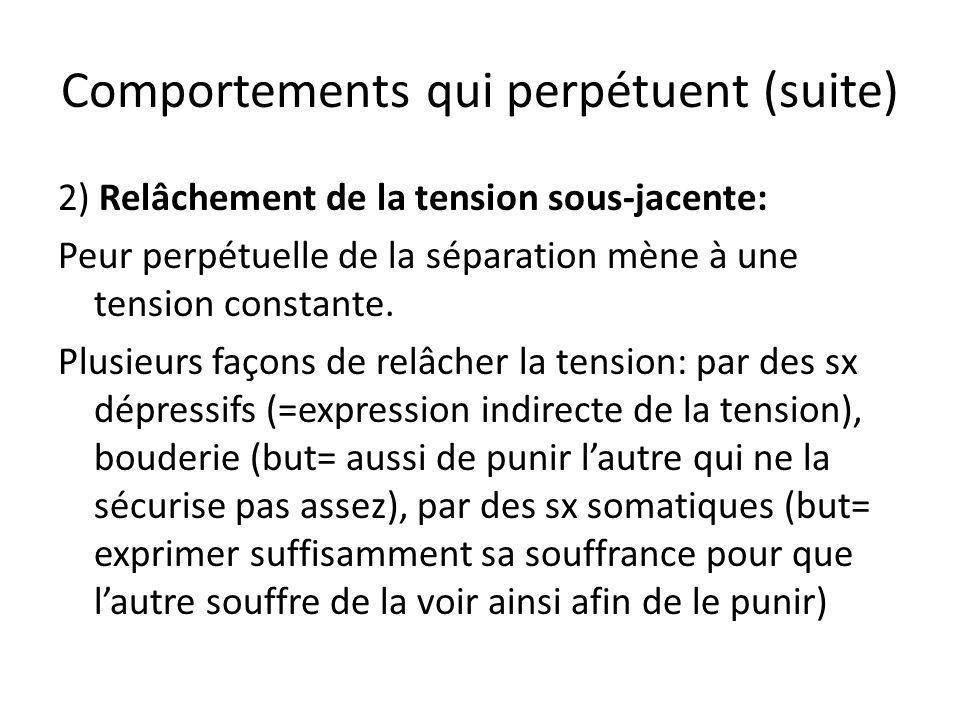 Comportements qui perpétuent (suite) 2) Relâchement de la tension sous-jacente: Peur perpétuelle de la séparation mène à une tension constante. Plusie