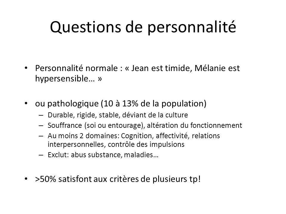 Questions de personnalité Personnalité normale : « Jean est timide, Mélanie est hypersensible… » ou pathologique (10 à 13% de la population) – Durable