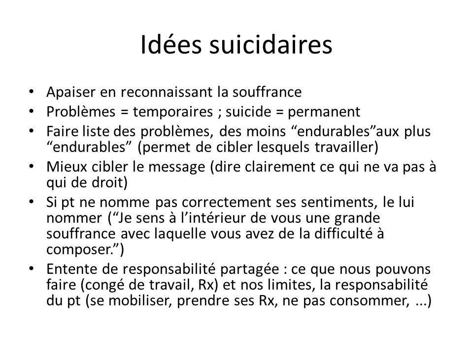 Idées suicidaires Apaiser en reconnaissant la souffrance Problèmes = temporaires ; suicide = permanent Faire liste des problèmes, des moins endurables