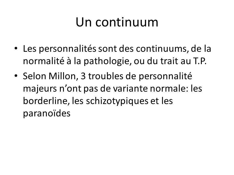 Un continuum Les personnalités sont des continuums, de la normalité à la pathologie, ou du trait au T.P. Selon Millon, 3 troubles de personnalité maje