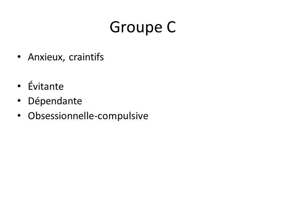 Groupe C Anxieux, craintifs Évitante Dépendante Obsessionnelle-compulsive