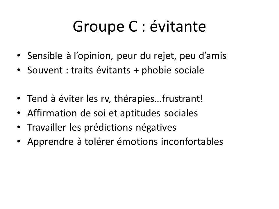 Groupe C : évitante Sensible à lopinion, peur du rejet, peu damis Souvent : traits évitants + phobie sociale Tend à éviter les rv, thérapies…frustrant