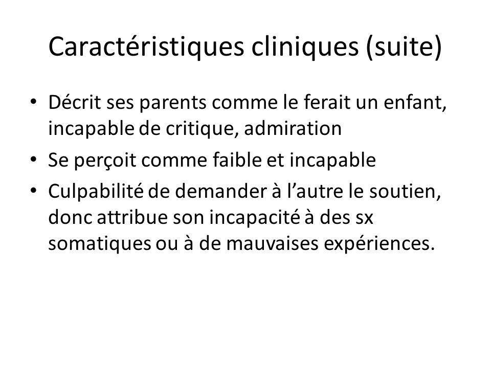 Caractéristiques cliniques (suite) Décrit ses parents comme le ferait un enfant, incapable de critique, admiration Se perçoit comme faible et incapabl